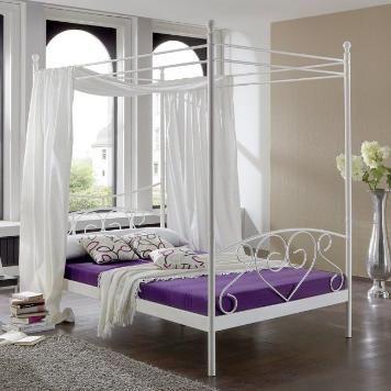 Himmelbett Alice Springs - Weiß - Bettgestell mit Matratze - landhaus schlafzimmer weiß