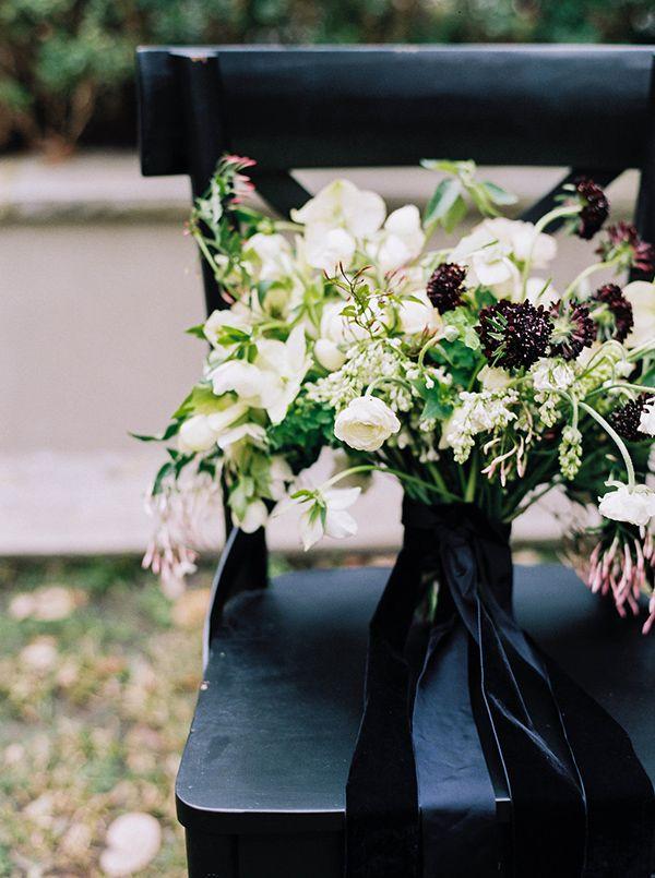 Elegant Organic Black and White Wedding Shoot | White bouquets ...