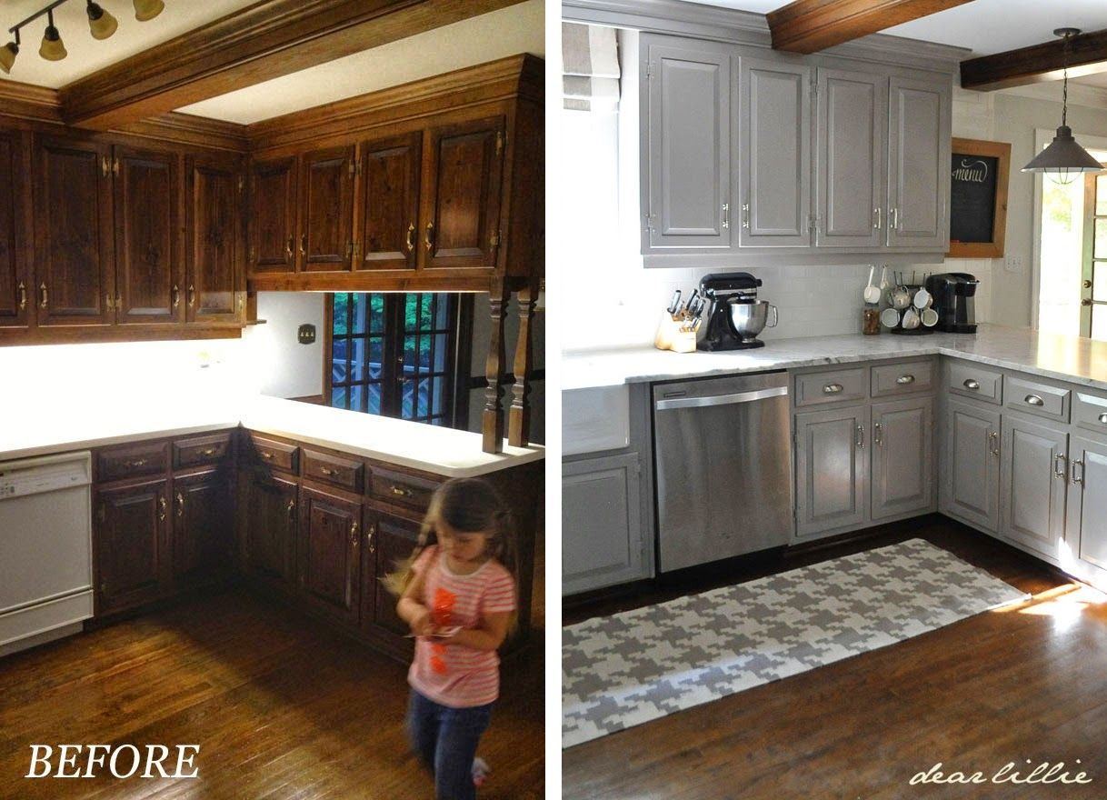 Dear Lillie: Darker Gray Cabinets and Our Marble Review #graycabinets