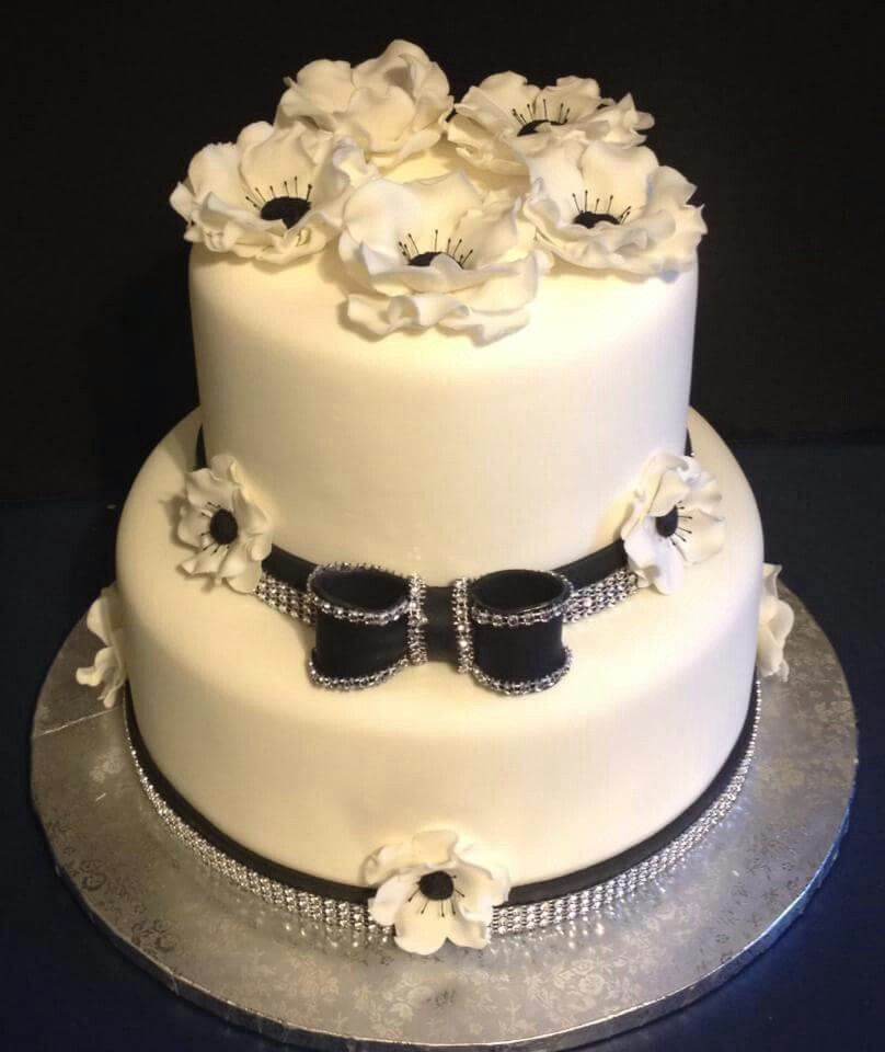 Black and white cake by Tracy's custom cakery