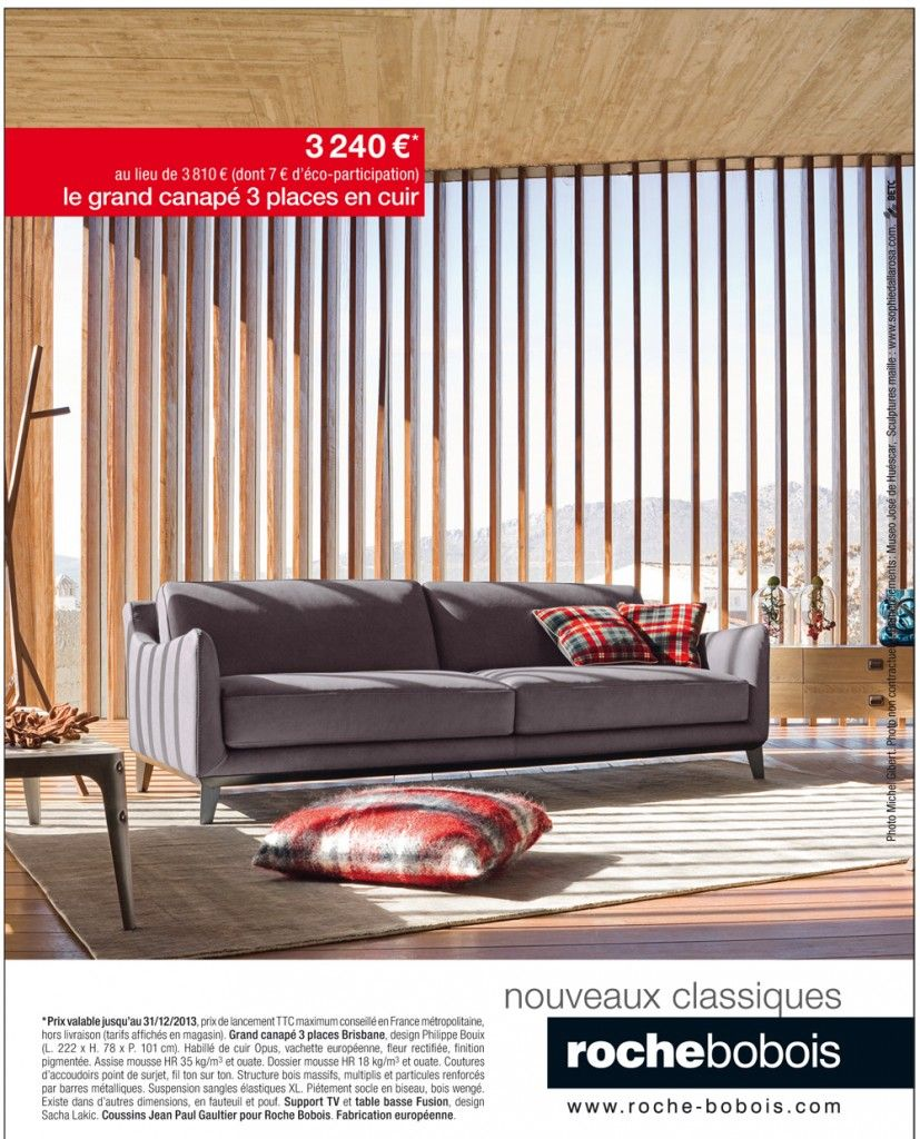 Grand canap 3 places brisbane roche bobois village du for Canape roche bobois