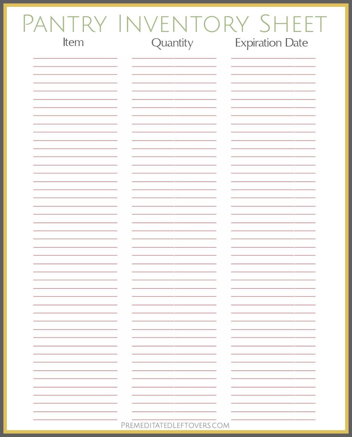 Free Printable Pantry Inventory Sheet