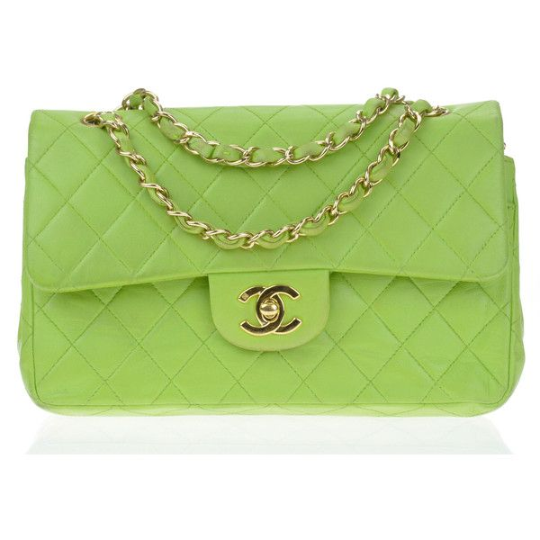 Pre Owned Chanel Green Lambskin Leather Small Double Flap Bag 26 630 Zar