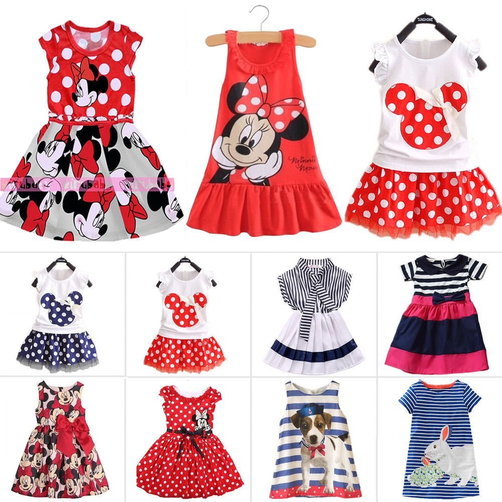 Summer Minnie Mouse Toddler Baby Girl Party Dress Sundress Casual Child Clothes