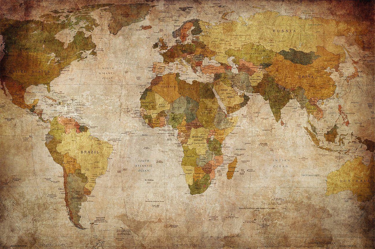 Weltkarte Poster Xxl Fototapete Retro World Map Pinnwand