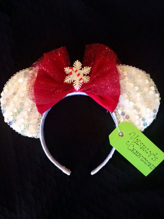 christmas minnie ears by yeselyscreations on etsy