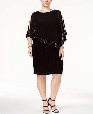 e44322359e83 MSK Plus Size Embellished Cape Dress - Dresses - Plus Sizes - Macy's ...