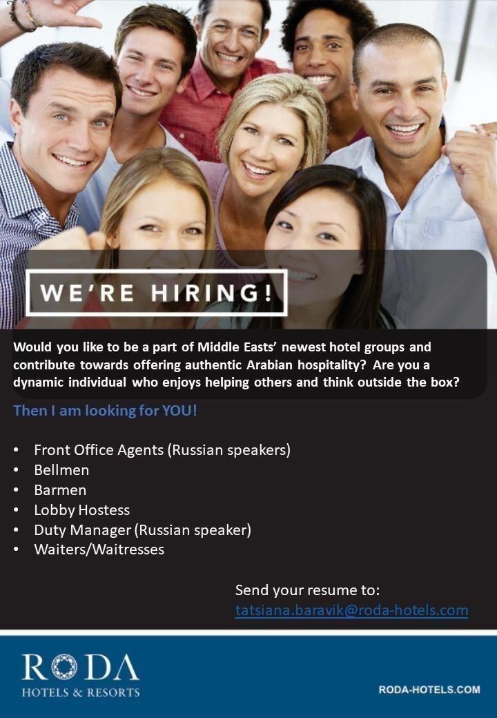 Hospitality professionals job openings dubai job opening