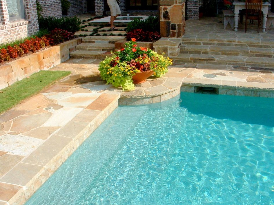 Peerless Coping For Swimming Pool With Flagstone Coping Around Pool Also Clay Flower Pots