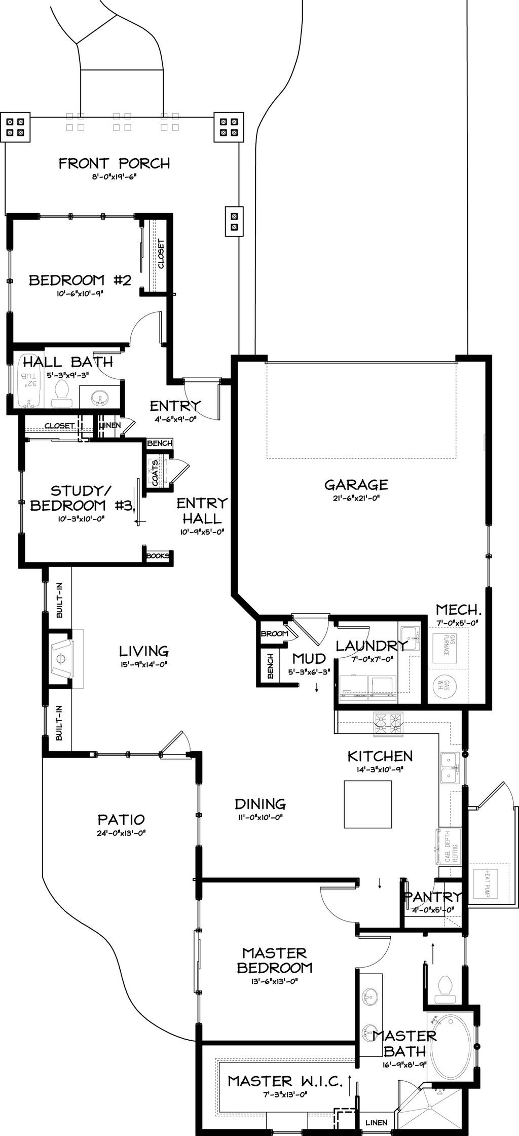 Craftsman style house plan 3 beds 2 baths 1710 sq ft for L shaped craftsman home plans