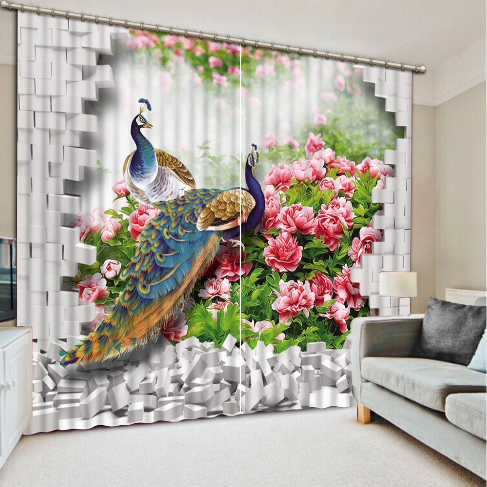 Custom 3d Curtains Peacock For Living Room Bedroom Kitchen Blackout Curtains  Luxury Stereoscopic Curtains