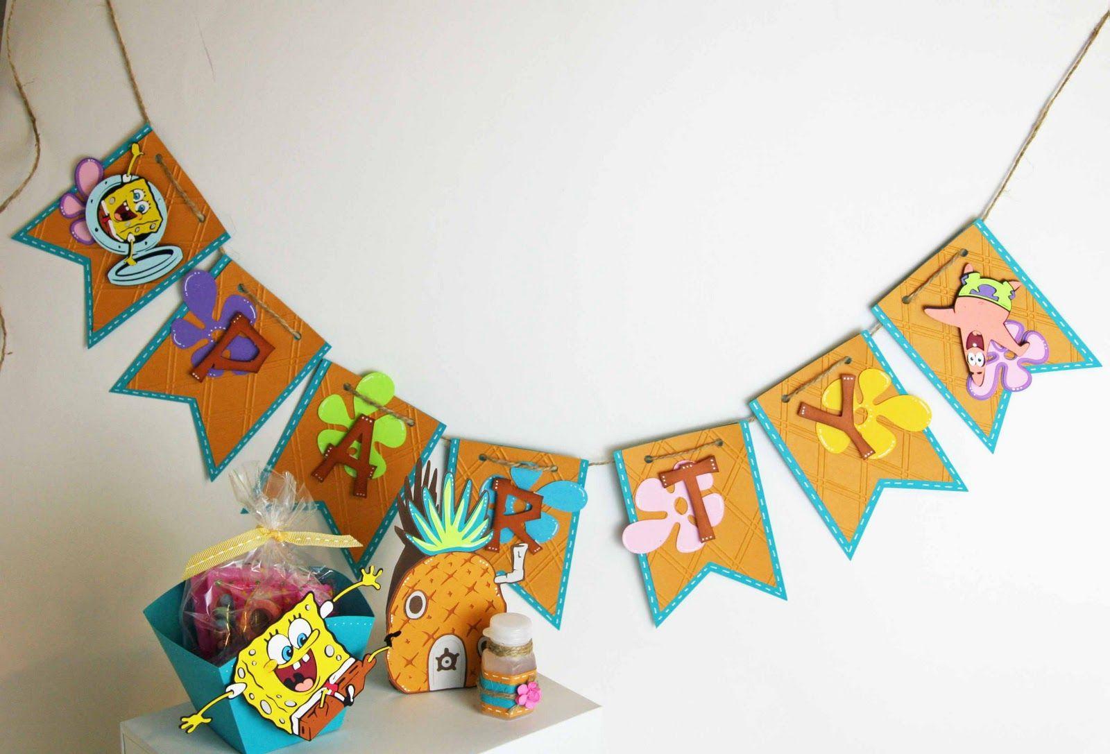 Cricut banner and favors spongebob party spongebob