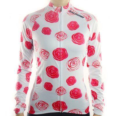 Racmmer Rose Blooms Women's Thermal Fleece Cycling Jersey