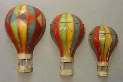 Set Of 3 Metal Hot Air Balloons Hot Air Balloon Metal Wall