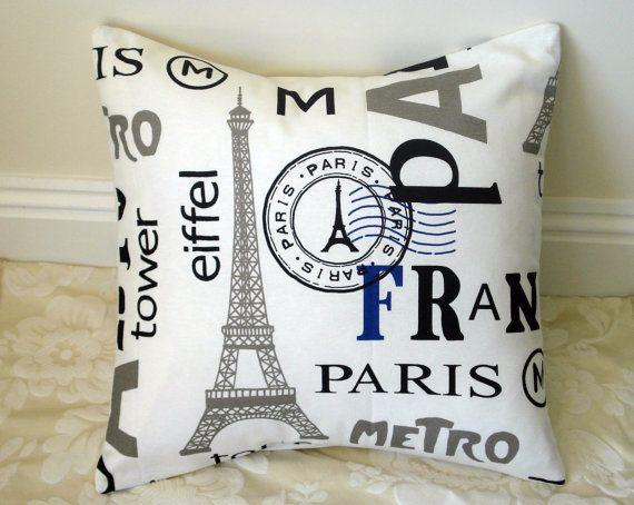 Throw Pillow France Paris Eiffel Tower Metro By IconicPillows, $35.00