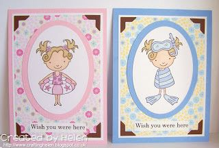 Two 'post cards' made with Pink Cat Studio stamps