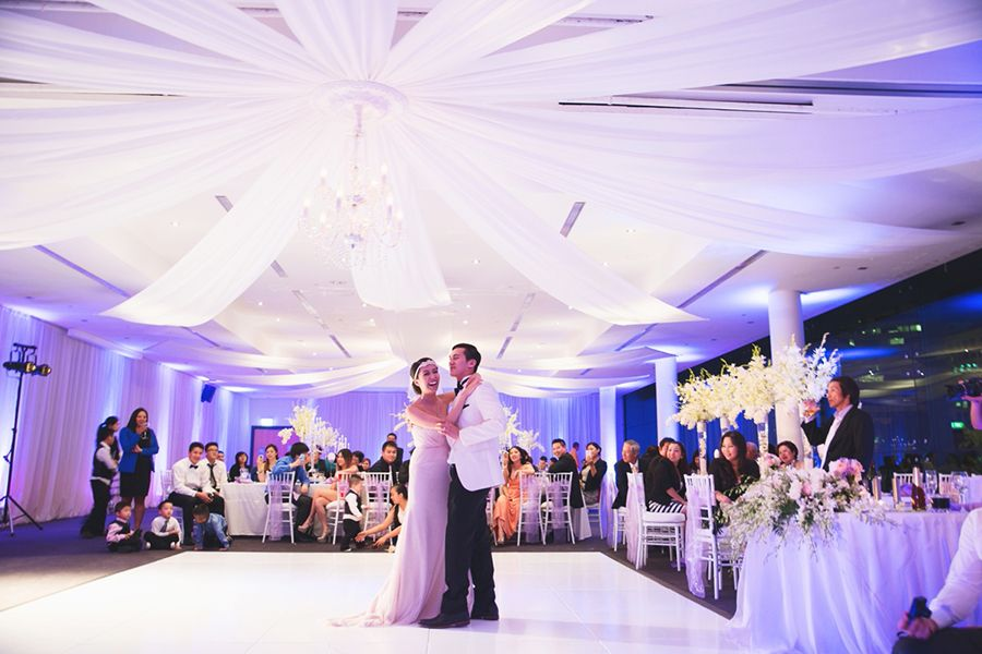 best outdoor wedding venues perth%0A Purple wedding lighting and beautiful ceiling drapery   Chris and Jenna u    s  Dreamy Lavender Wedding in Perth