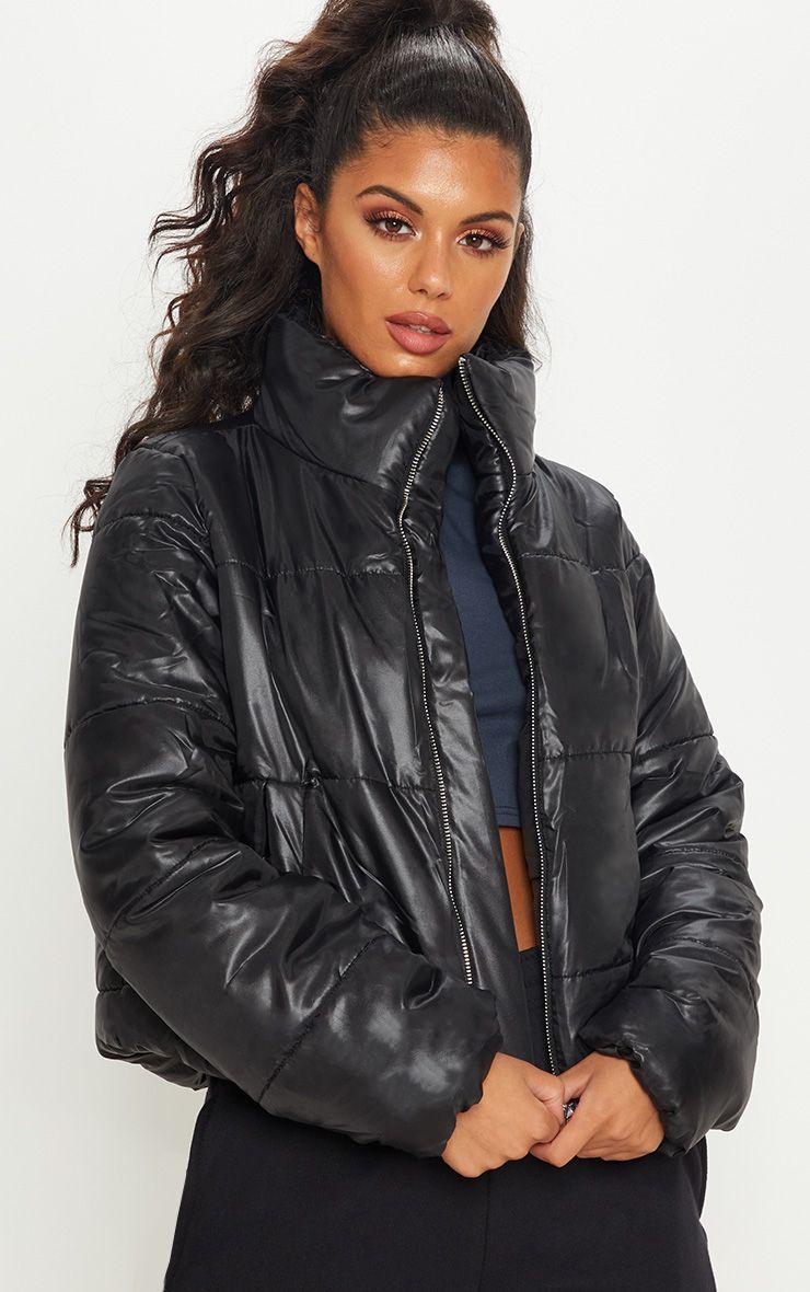 Black High Shine Cropped Puffer Jacket Cropped Puffer Jacket Puffer Jackets Jackets [ 1180 x 740 Pixel ]