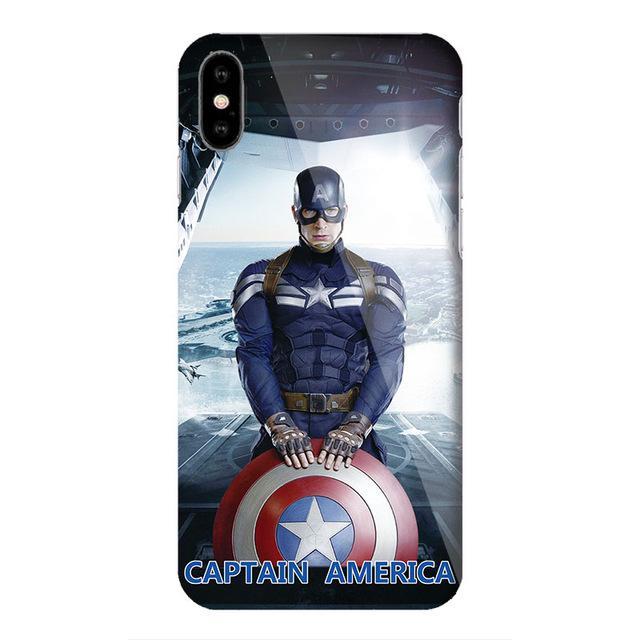 091380b41dd Marvel Captain America Shield Superhero Case Cover for iPhone X 7 8 Plus 6  6s iPhoneX iron Man Spiderman Case Comic accessories
