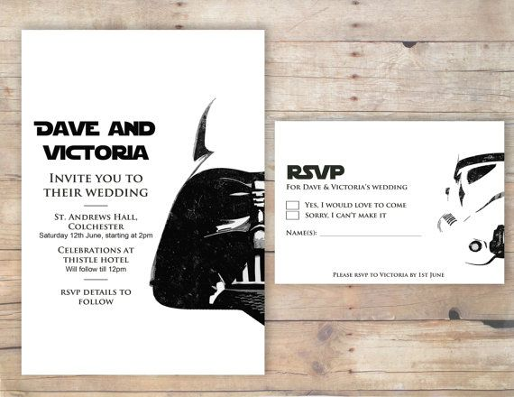 Star Wars Wedding Invitation Amp Rsvp By Flurgdesigns On Etsy 10 00 Brollop