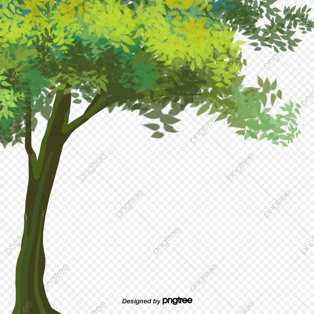 Download This Hand Painted Cartoon Green Tree Decoration Cartoon Big Tree Hand Painted Png Clipart Image W Cartoon Trees Green Trees Christmas Tree Painting