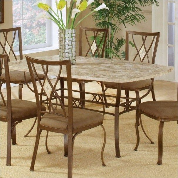 unique brookside stone dining table set with wooden chairs