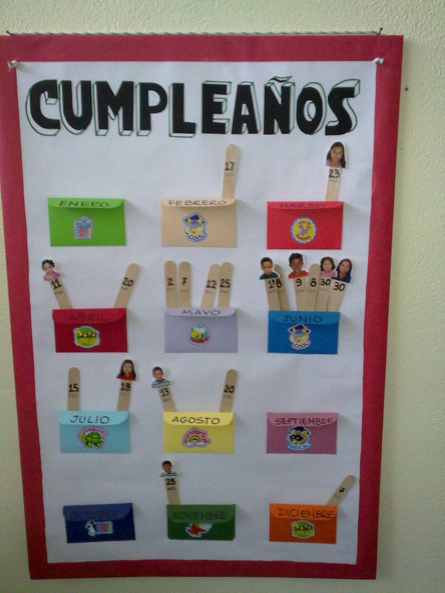 Cartelera para los cumplea os con las fotos de los ni os for Decoracion salas jardin de infantes