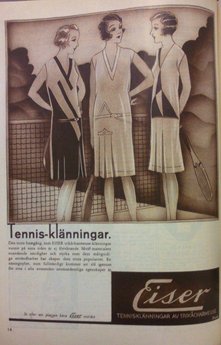 Tennisklänningar i trikåcharmeuse från Eiser 1930 // Ad for jersey tennis dresses.