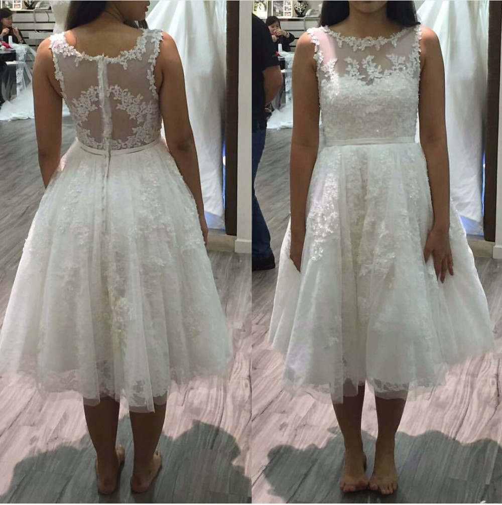 Simple lace bridal dress with lacemidi wedding dressbeautiful prom