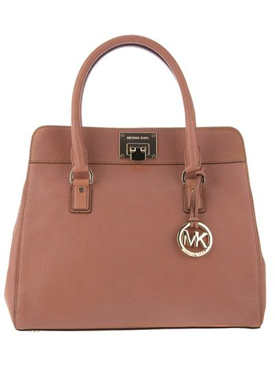867b29101421 Brown leather tote bag from Michael Kors featuring a detachable shoulder  strap, twin handles, a hanging logo detail, a front turn-lock clasp closure,  ...