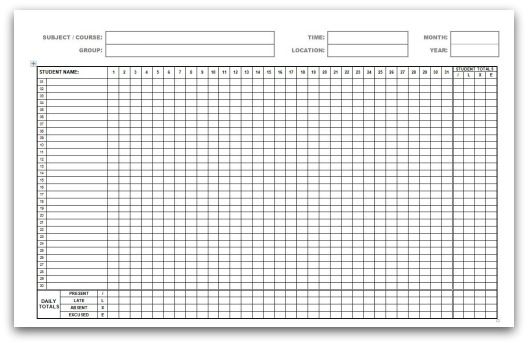 Printable Attendance Calendars in PDF format Free Printables