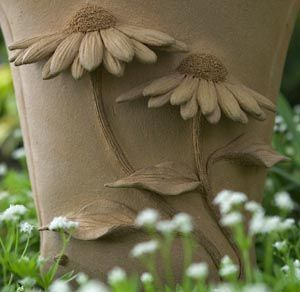 Woodlands Garden Pottery -- Standard Pots **Love the idea of 3D decoration on a traditionally 2D surface.