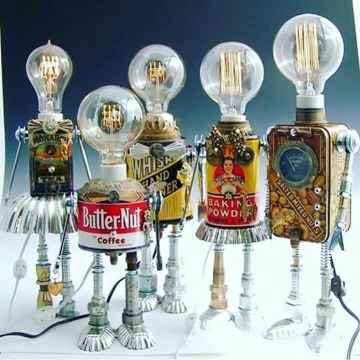 t tes d 39 ampoule pour une vision clair e lampe en boite de conserve wm robot art crafts diy. Black Bedroom Furniture Sets. Home Design Ideas