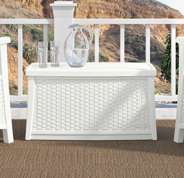 Deck Storage Box White End Table Patio Chest Trunk Plastic Wicker Furniture Yard Idh