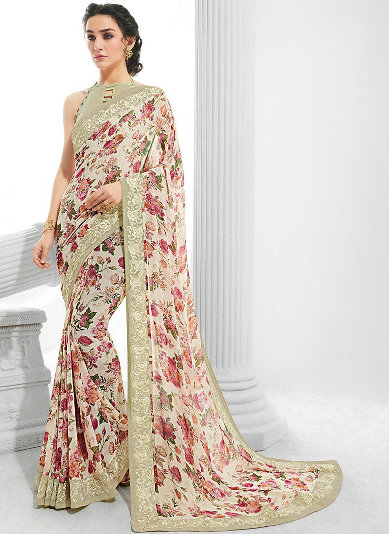 a550a4bf1c01d Off White and Pink Floral Georgette Saree – Lashkaraa