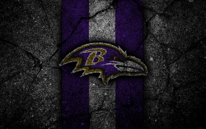 Download wallpapers 4k, Baltimore Ravens, logo, black