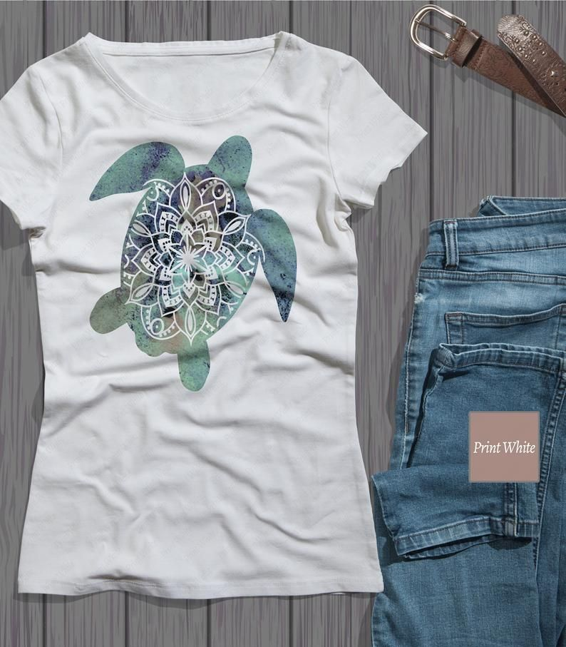 Watercolor Sea Turtle Sublimation Design Sea Turtle Mandala