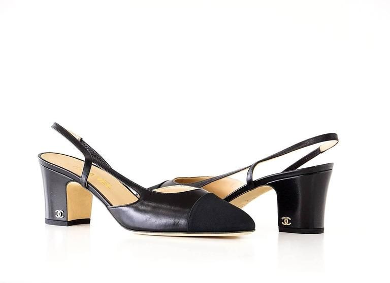 4fc919213f4f Guaranteed authentic CHANEL Mademoiselle black on black slingback shoe.The  iconic classic leather slingback shoe in black leather with black grosgrain  cap ...