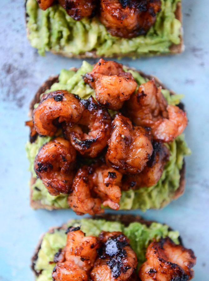 BBQ Shrimp and Lime Avocado Toast. - How Sweet Eats