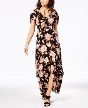 ebea052d7e99 American Rag Juniors' Printed Ruffle Maxi Dress, Created for Macy's - Floral  Print XXL