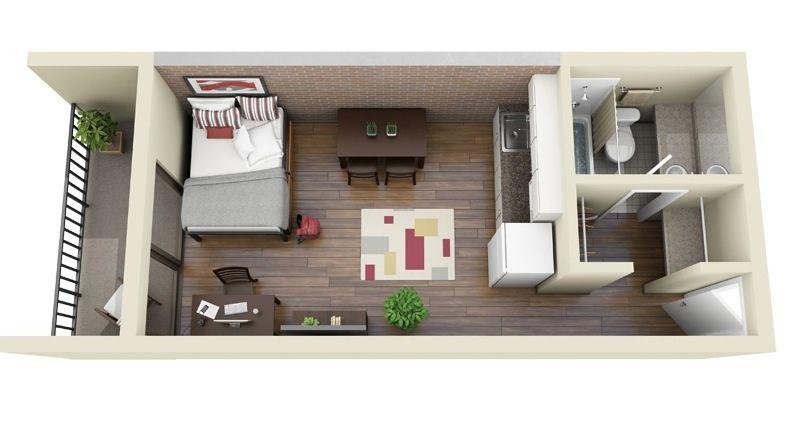 Planos de apartamentos pequeños en 3D decora Pinterest Studio