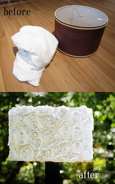 lampshade + 0ne cheap white sheet = adorable new lampshade