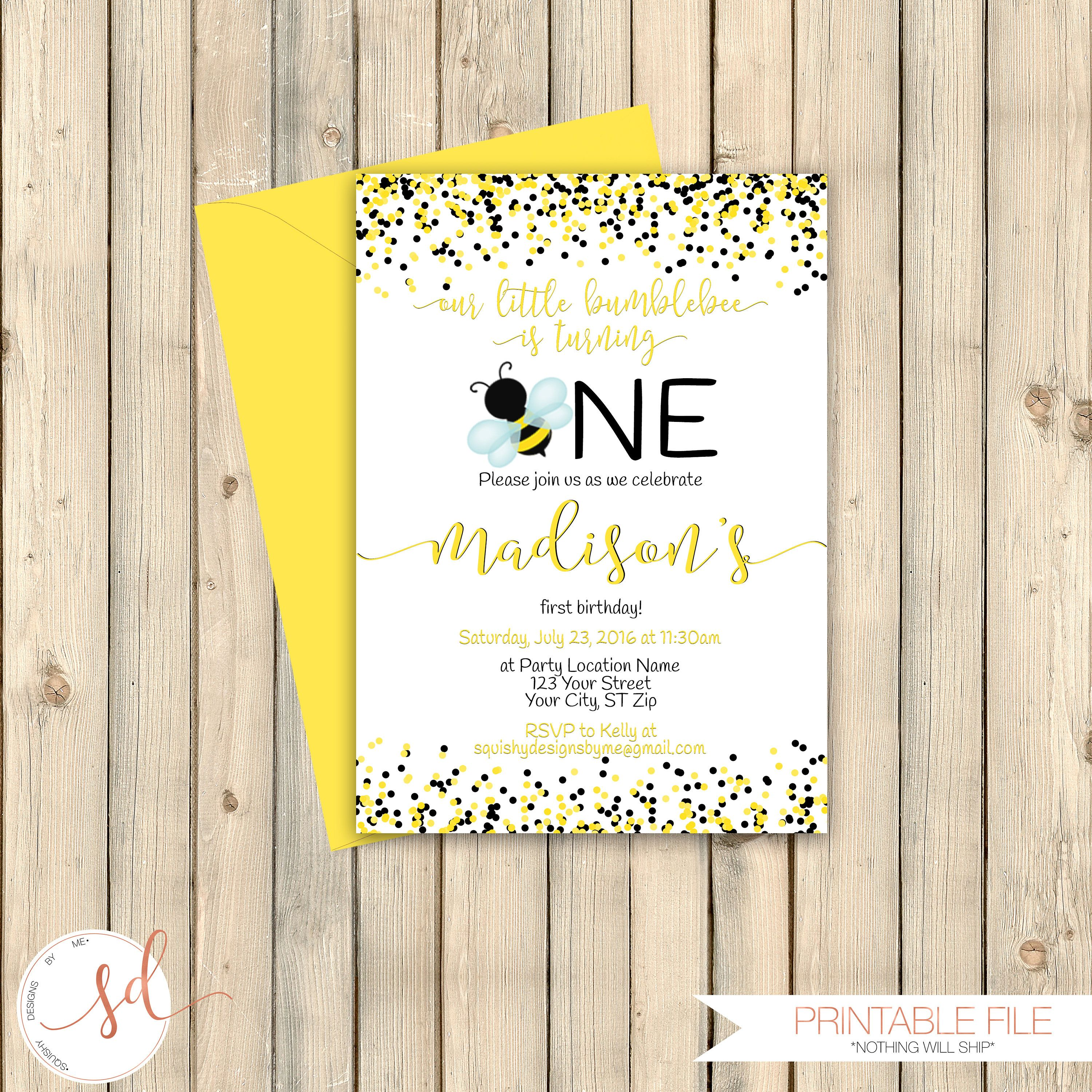 Bumble Bee Birthday Invitation, Honey Bee First 1st Bday, Bumblebee ...