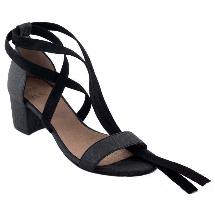 a01f6f60b26d7 Clau Black Woman vegan ankle strap sandals block heel piñatex
