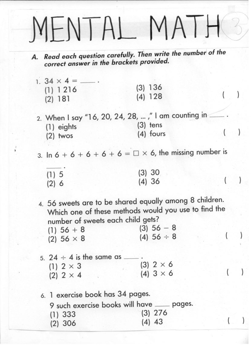 small resolution of mental maths worksheets for grade 3 year m : Koogra   4th grade math  worksheets