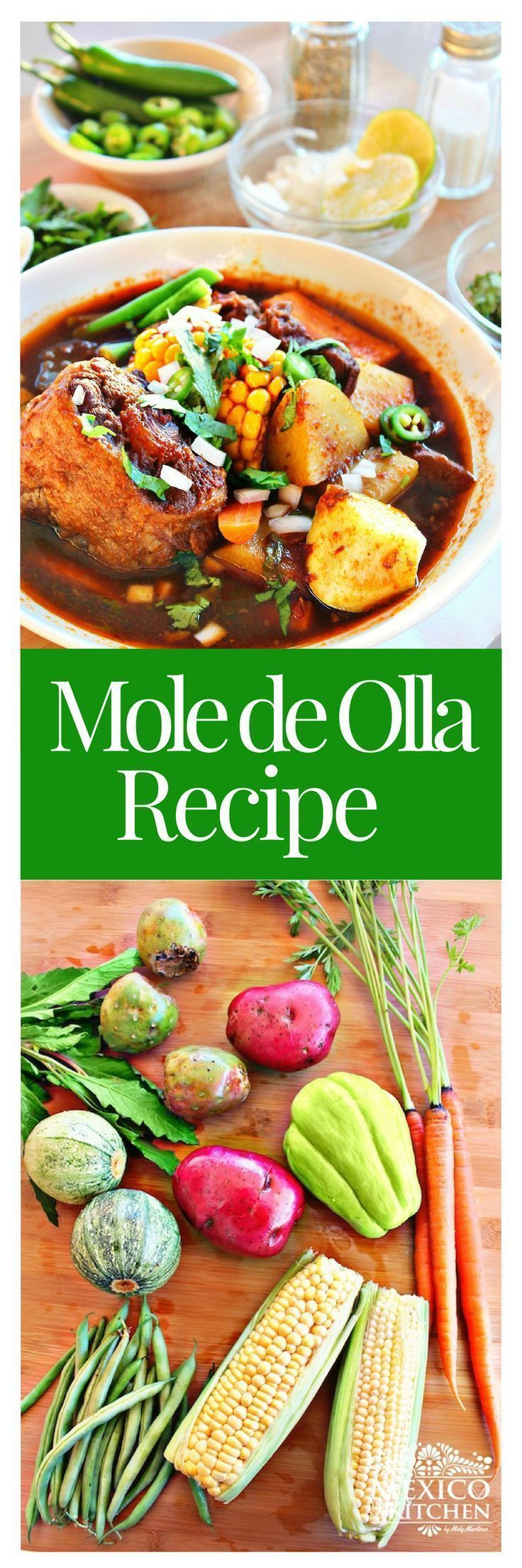 Mole de Olla recipe │ is a rich soup with a little bit of moleflavor. It has many variations across the country, but is mo#mexicanrecipes #mexicanfood #soups #mexicancuisine
