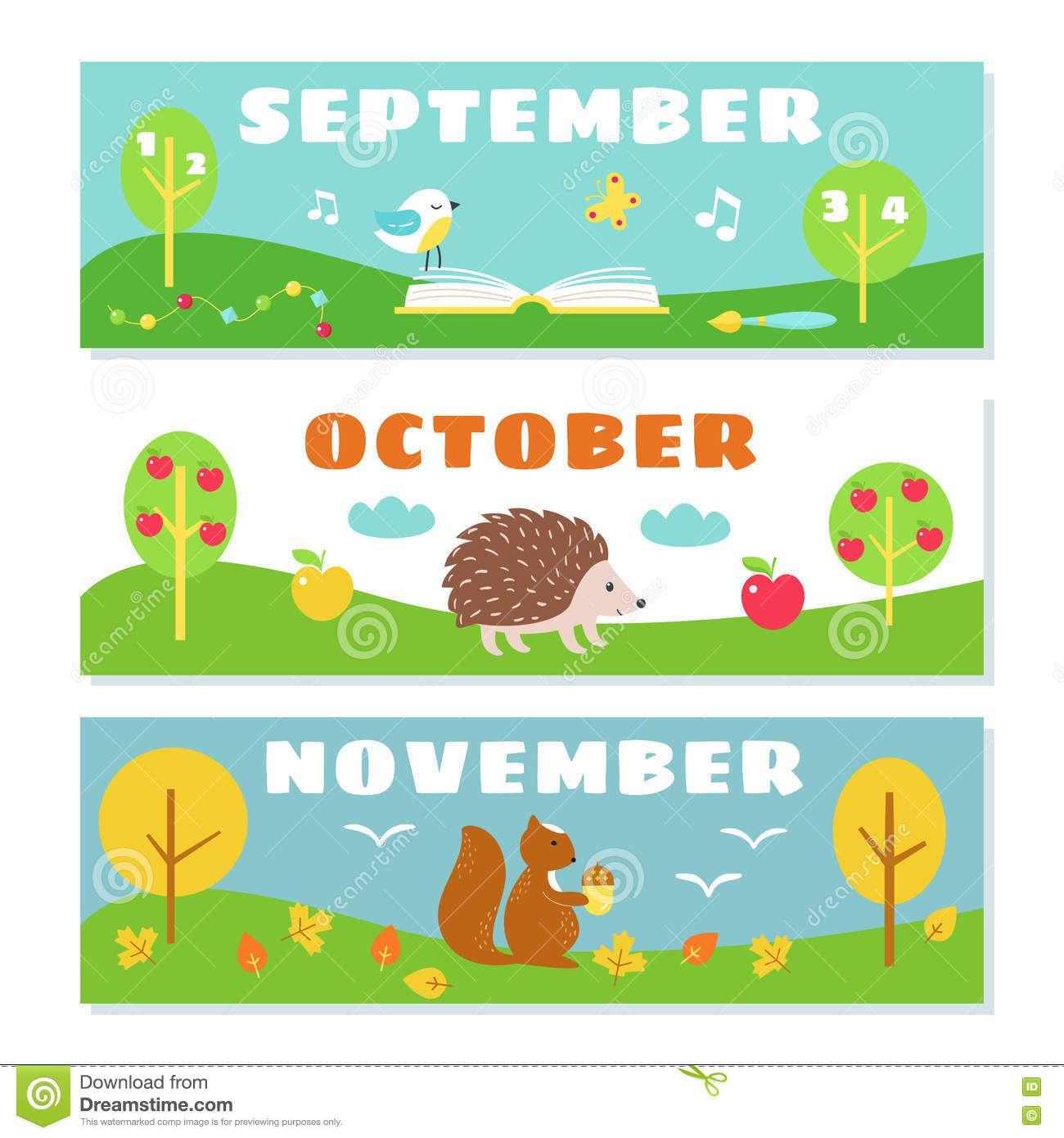 Autumn Months Calendar Flashcards Set Stock Illustration
