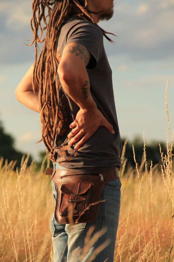 Brown Leather Hip Bag 3 Pocket Belt By Motherearthtreasure