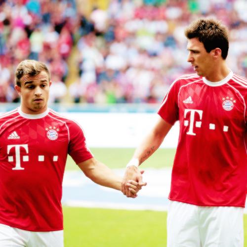 Xherdan Shaqiri And Mario Mandzukic Bayern Munich