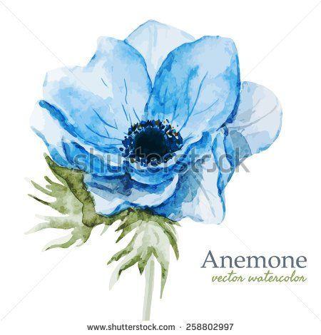 Watercolor Flowers Anemones Blue Spring Blue Flower Tattoos Watercolor Flowers Watercolor Flowers Paintings